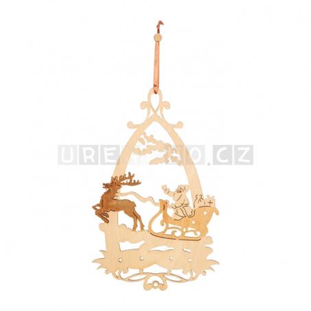 Vánoční dřevěná dekorace do okna, 4 kusy