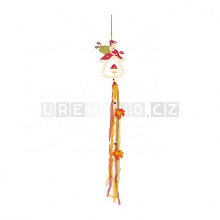 Dřevěná dekorace k zavěšení - Houbová panenka
