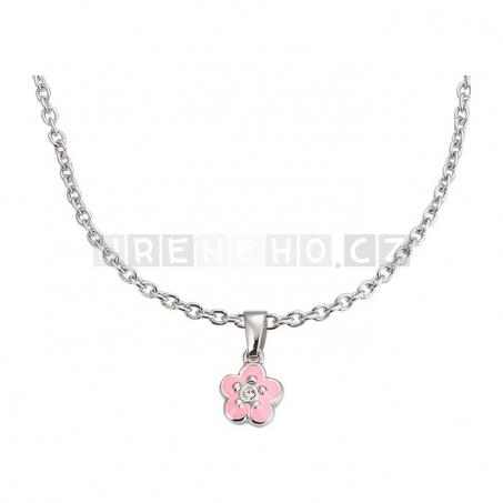 Náušenice a náhrdelník s přívěskem růžová květina (925 stříbro)