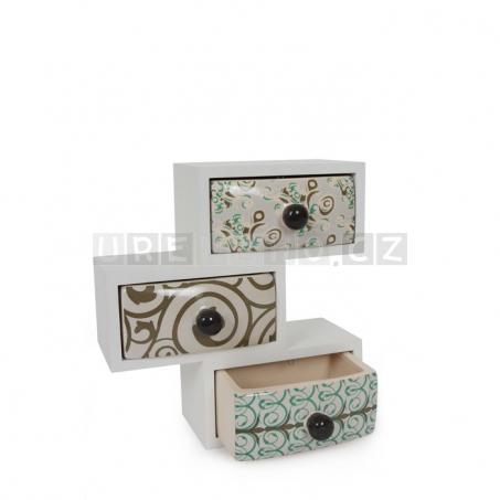 Dřevěná šperkovnice s keramickými šuplíčky - Eva