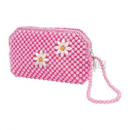Růžová kabelka s perličkami, 2 kusy v sadě
