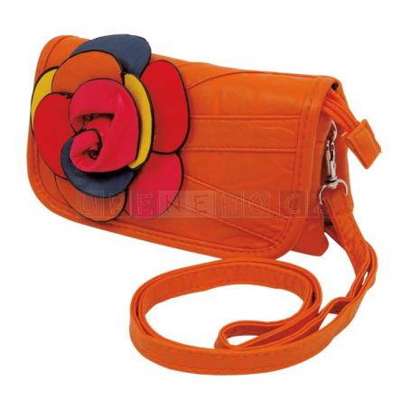 Kabelka oranžová s květinou
