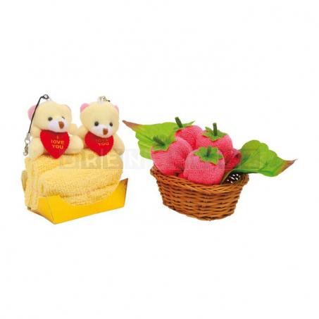 Dárková sada ručníků - Ovocný košík a medvídci