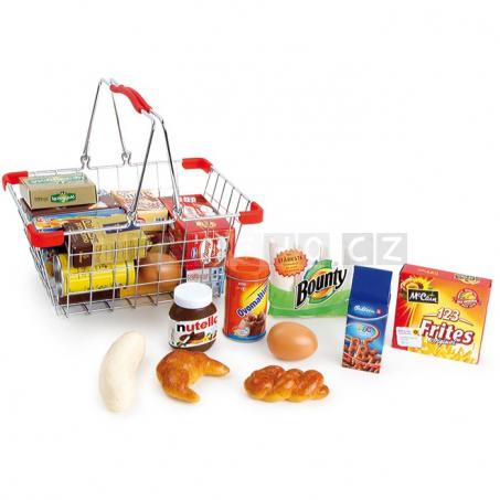 Kovový nákupný košík s nákupom