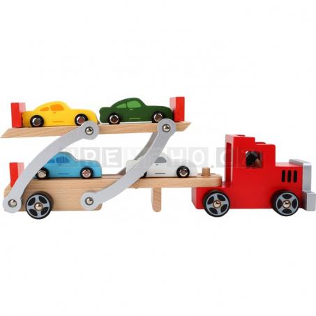 Drevený Autotransporter a 4 autíčka