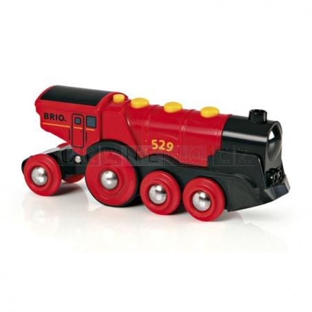 BRIO Mohutná elektrická červená lokomotiva se světly [33592]