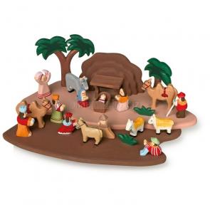 Dřevěný Betlém s figurkami, 23 dílků