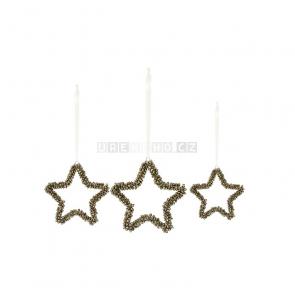 Rolničkové hvězdy k zavěšení, 3 ks v sadě