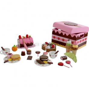 Dřevěné potraviny - box plný sladkostí