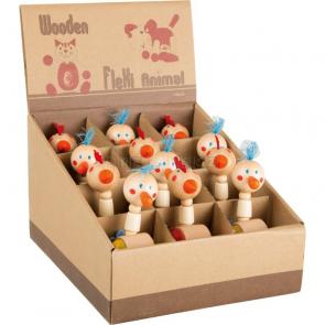Dřevěné figurky Kohoutek a slepička, 12 kusů