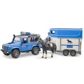 Bruder 2588 Land Rover Defender Policejní s přívěsem, koněm a policistou [02588]