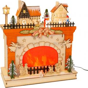 small foot Vánoční lampa zimní scéna u krbu [11388]