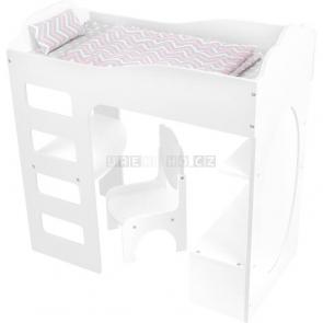 small foot Vysoká postýlka pro panenku se stolem bílá [12025]