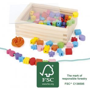 small foot Dřevěné navlékací korálky tvary v krabičce [11060]