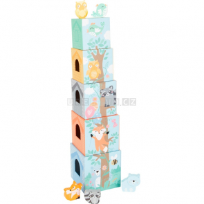 small foot Skládací věž pastelová se zvířátky [11721]